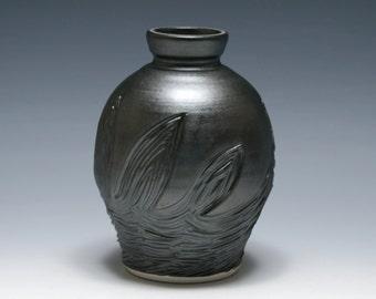 Metallic Black Vase with Hand Carved Design