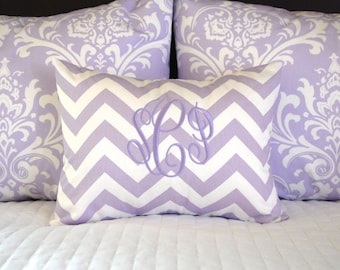 Pillow Shams - Lilac Pillow Covers - Two Shams and Monogrammed Pillow Cover - Lilac Damask Shams and Chevron Pillow - Purple Bedding