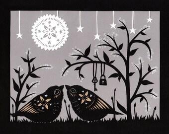 Lock and Key - 8 X 10 inch Cut Paper Art Print