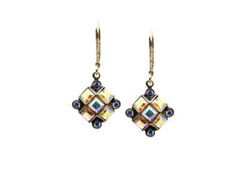 Small Dangle Drop Earrings with Blue and Crystal AB Swarovski Crystals