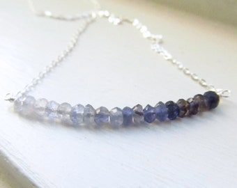 Iolite necklace water sapphire bar sterling silver chain delicate