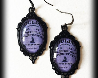 Purple Ouija Earrings, Occult Jewelry, Ouija Board Jewelry, Gothic Jewelry, Glass Cameo Earrings, Wiccan Jewelry, Gothic Jewelry Gift