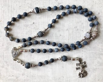Sterling Silver Rosary, miraculous cross of Caravaca, weatherstone, Rosary beads,  grey and black, catholic rosary by Rosenkranz-Atelier