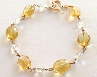 Bracelet Liquid Sunshine Yellow Citrine and Clear Quartz Handmade Sterling Silver Gold Filled