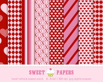 Heart Attack Digital Paper Pack - Personal or Commercial Use - by Sweet Papers