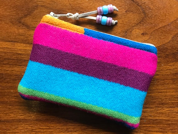 Wool Coin Purse / Phone Cord / Gift Card Holder / Zippered Pouch XL Bright Stripes