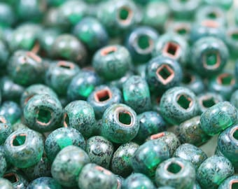 RARE!!! 1/0 Teal Picasso Czech Seed Beads - vintage chunky seed beads, loose, 30grams