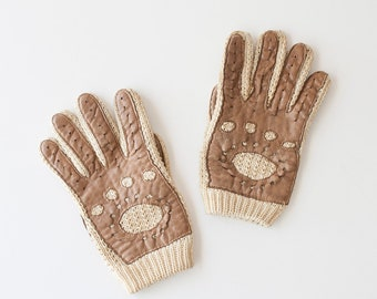 Vintage Cotton Knit + Leather Driving Gloves