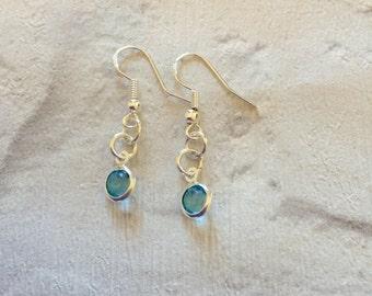 Aquamarine Crystal Earrings, March Birthstone Earrings, Dangle Drop Earrings, Silver Earrings, Boho Jewellery, Bridal Jewellery,Aquamarine.