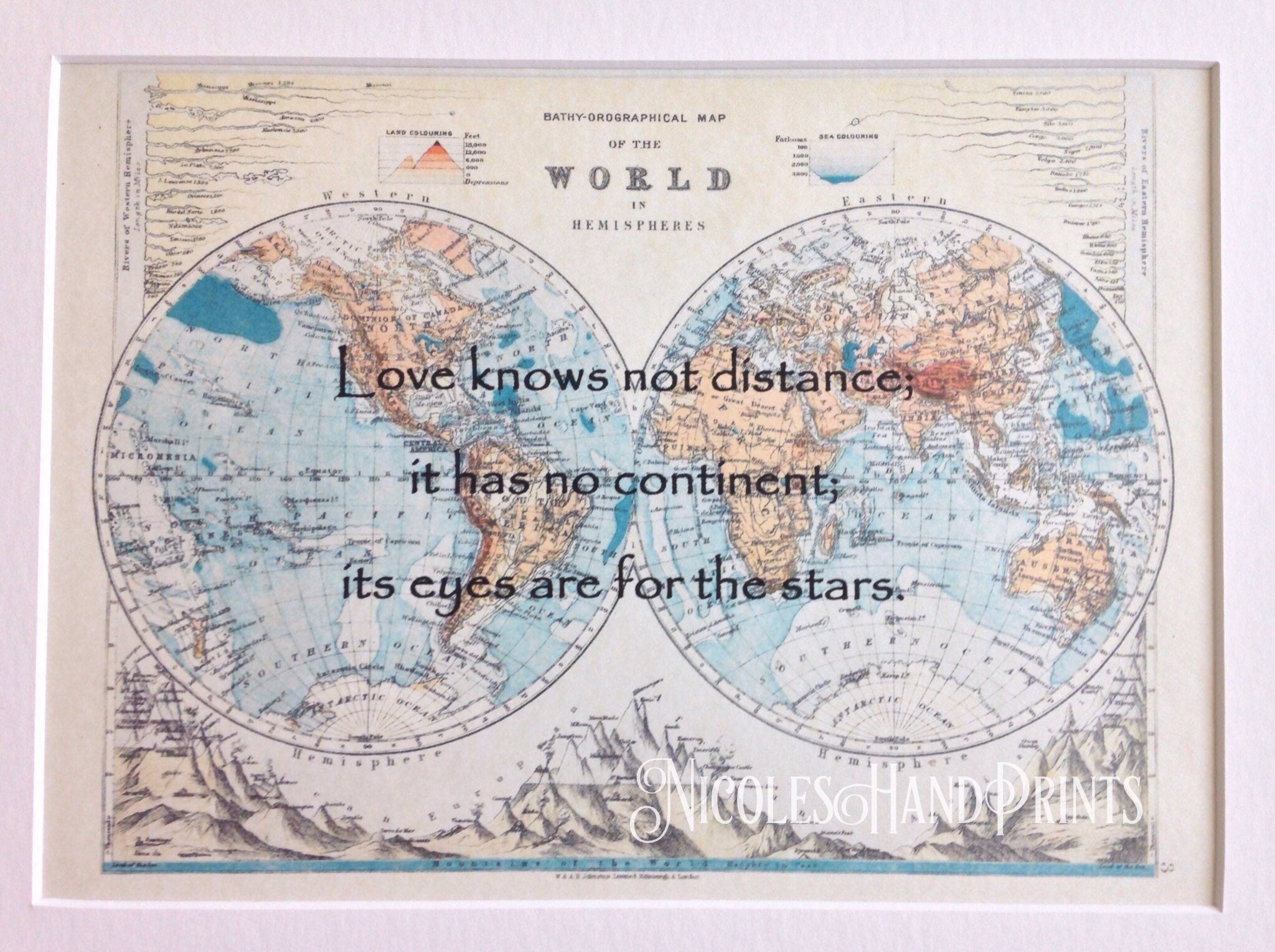 Vintage old world map print love quote gifts map gifts romantic 1 gumiabroncs Gallery