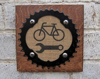 "6""x6"" Recycled Bicycle Chainring Mechanic Plaque"