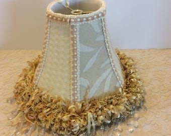Vintage Tan Brocade Silk Lamp Shade with Gold Trim and Clear Bead Streamers,Shabby Chic Decor, Hollywood Regent Style, Boudoir Vanity Decor