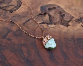 Raw emerald necklace, May birthstone necklace, unique gift, large emerald
