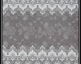 grey and white borders napkin