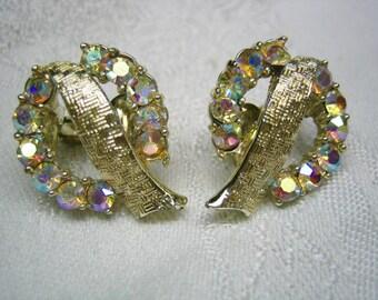 Vintage CORO AB Rhinestone Clip on Earrings