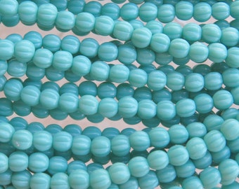 5mm Opaque Turquoise Czech Glass Melon Beads - Qty 50 (BS95)