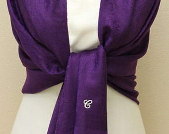 Deep purple pashmina paisley shawl, scarf, wrap, bridal bridesmaid gifts