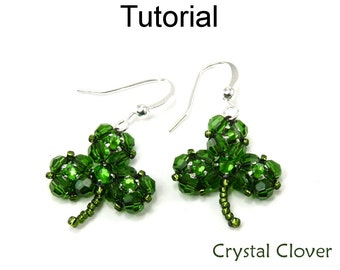Beading Tutorial Pattern - Beaded Earrings Necklace - St. Patrick's Day Jewelry - Simple Bead Patterns - Crystal Clover #4929
