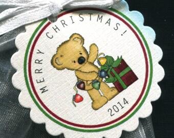 Christmas Gift Tags - Holiday Gift Tags - Christmas Tag - Christmas Favor Tag - Party Favor Tag - Holiday Tags - Bear With Gift - Set of 25