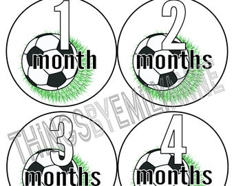Instant Download Baby Milestone Stickers, Baby Month Stickers, 12 Growth +BONUS Bodysuit Stickers, Monthly Stickers, Soccer Ball