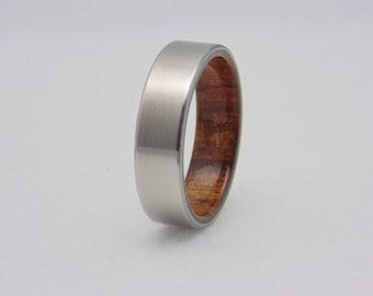 Koa wood and Titanium ring, Titanium wedding band