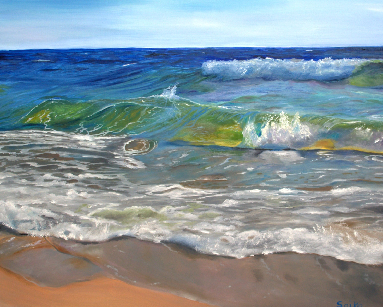 Seascape Oil Painting Wall Art 24x30 Enchanted Home Decorbeach Scenefantastic Colors