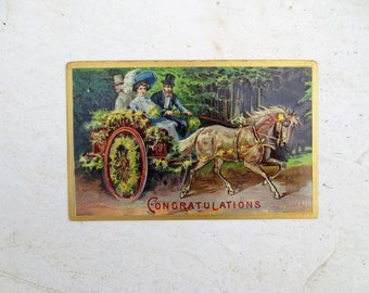 1910 Postcard Congratulations Horse and Carriage