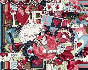 On Sale 50% Off Valentine, Smitten, Digital Scrapbooking Kit, Holiday