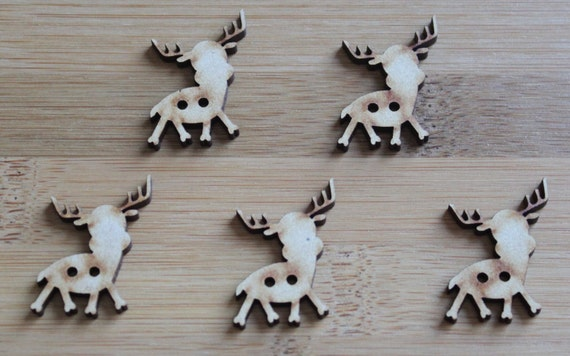 8 pieces.Reindeer buttons ,2.4 cm Buttons -Acrylic and Wood Laser Cut-Jewellery Supplies-Little Laser Lab Wood and Acrylic Products