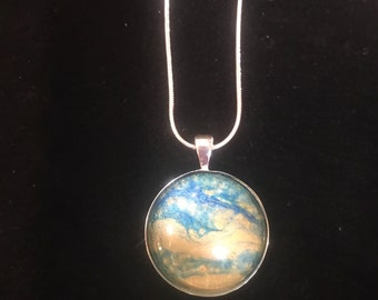 Sterling Silver Painting Necklace