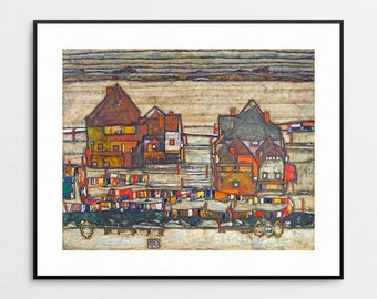 Egon Schiele Print - Houses with laundry - Suburb II - Egon Schiele Art - Egon Schiele Houses - Egon Schiele Painting - Expressionism