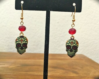 Day of the Dead earrings, Red