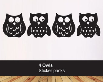 Pack of 4 Owl stickers - kids bedroom playroom - kids vinyl owl decals - Nursery wall decals - Car laptop wall- Christmas stocking filler