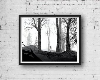 11x14 Printable Art Tree Black And White Prints Forest Print
