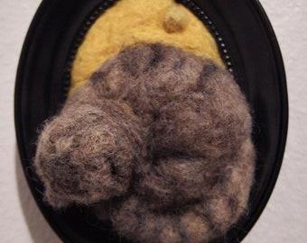 Sleeping Cat - needle felted animal / framed art /kitty / kitten / sleeping / 2D felt art / decoration / cute / unique / wool art / felt