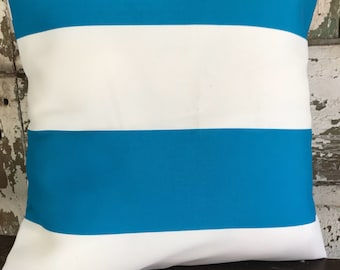 Pillow, Throw Pillow Cover, Decorative Pillow CoverCobalt Blue and White Stripes Outdoor