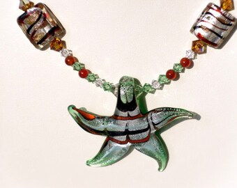 Earth Tone Beaded Necklace with Lampworked Glass Star Pendant and Bicone Crystal