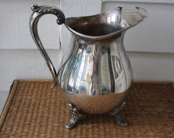 silver pitcher, Bristol silver pitcher by Poole, water pitcher, vintage silver