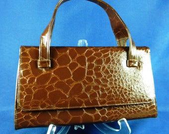 Mid Century Mad Men Vintage Handbag Top Handle Brown Alligator Croc ? with Button Clasp