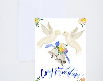 Wedding Cards - Congratulations - Wedding Bells - Doves - Painted - Friendship - Love - Greeting Card - A-2 Single Card