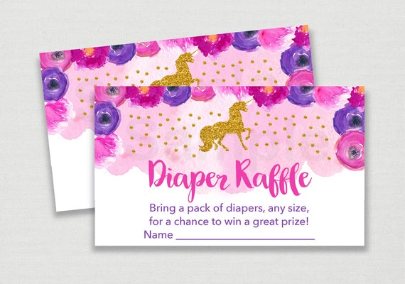 Unicorn Diaper Raffle Tickets Unicorn Baby Shower