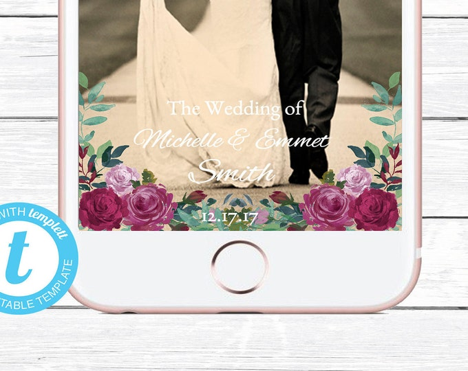 Wedding Snapchat Geofilter, Floral Snapchat Geofilter, Wedding Filter, Custom Geofilter, Snapchat Wedding, Wedding Geofilter, Snapchat, DIY