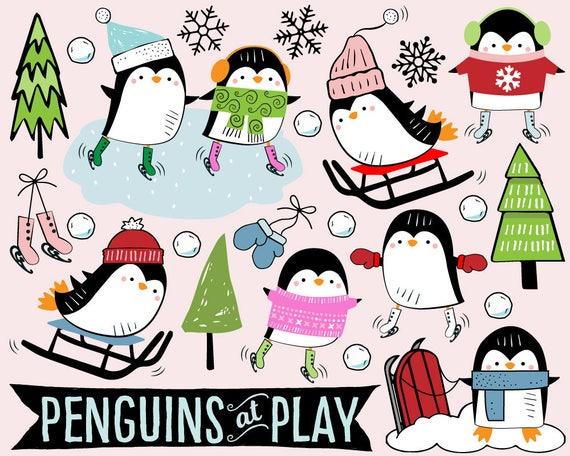 penguin clipart ice skating clipart sled clipart snow clip art rh etsystudio com roller skating clipart skating clipart black and white