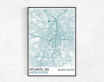 Atlanta Map Poster, Custom Map Print, Street Map, Choose Your Own City, Wall Art, Map Wall Art, City Map Print, Atlanta, Georgia City Map