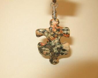 SOLD RA63 Autism Awareness Puzzle Piece Rock Pendant