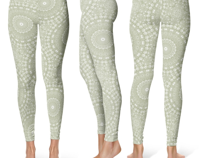Sage Leggings Yoga Pants, Printed Yoga Tights for Women, Green and White Mandala Pattern