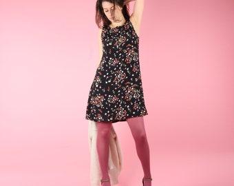 90s Vintage Dress // 90s Floral Dress // Black Vintage Dress Summer Dress Shift Dress Size Small S