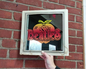 The Beatles vintage carnival glass prize apple beveled mirror wall hanger art home decor