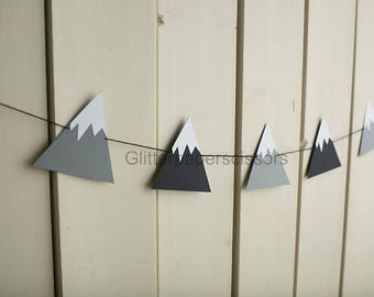 Snow Covered Mountain Garland - Photography Prop- Gray Black Decor - Wall Hanging- Ski Decor- Winter Decor- Bunting - Banner-
