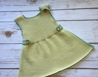Organic cotton knitted baby dress 6-12m